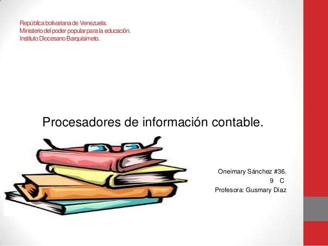 República bolivariana de Venezuela. Ministerio del poder popular para la educación. Instituto Diocesano Barquisimeto.  Pro...