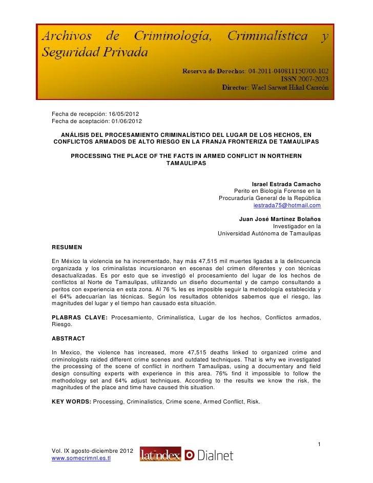 Fecha de recepción: 16/05/2012Fecha de aceptación: 01/06/2012  ANÁLISIS DEL PROCESAMIENTO CRIMINALÍSTICO DEL LUGAR DE LOS ...