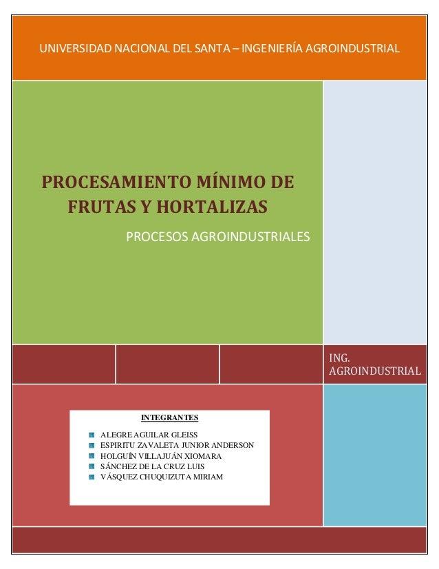 UNIVERSIDAD NACIONAL DEL SANTA – INGENIERÍA AGROINDUSTRIAL ING. AGROINDUSTRIAL PROCESAMIENTO MÍNIMO DE FRUTAS Y HORTALIZAS...