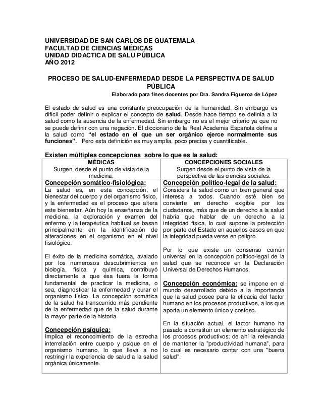 UNIVERSIDAD DE SAN CARLOS DE GUATEMALA FACULTAD DE CIENCIAS MÉDICAS UNIDAD DIDACTICA DE SALU PÚBLICA AÑO 2012 PROCESO DE S...