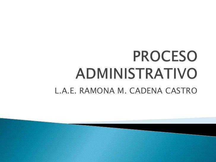 PROCESO ADMINISTRATIVO<br />L.A.E. RAMONA M. CADENA CASTRO<br />