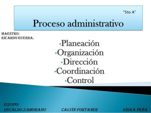 """""""5to A""""maestro:Ricardo guerra.                    •Planeación                   •Organización                    •Direcció..."""