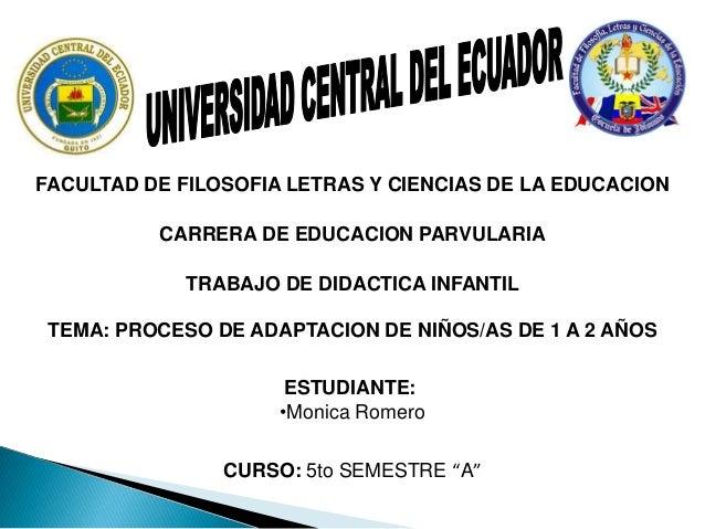 FACULTAD DE FILOSOFIA LETRAS Y CIENCIAS DE LA EDUCACION          CARRERA DE EDUCACION PARVULARIA             TRABAJO DE DI...