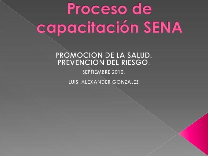 Proceso de capacitación SENA<br />PROMOCION DE LA SALUD.<br />PREVENCION DEL RIESGO.<br />SEPTIEMBRE 2010.<br />LUIS  ALEX...