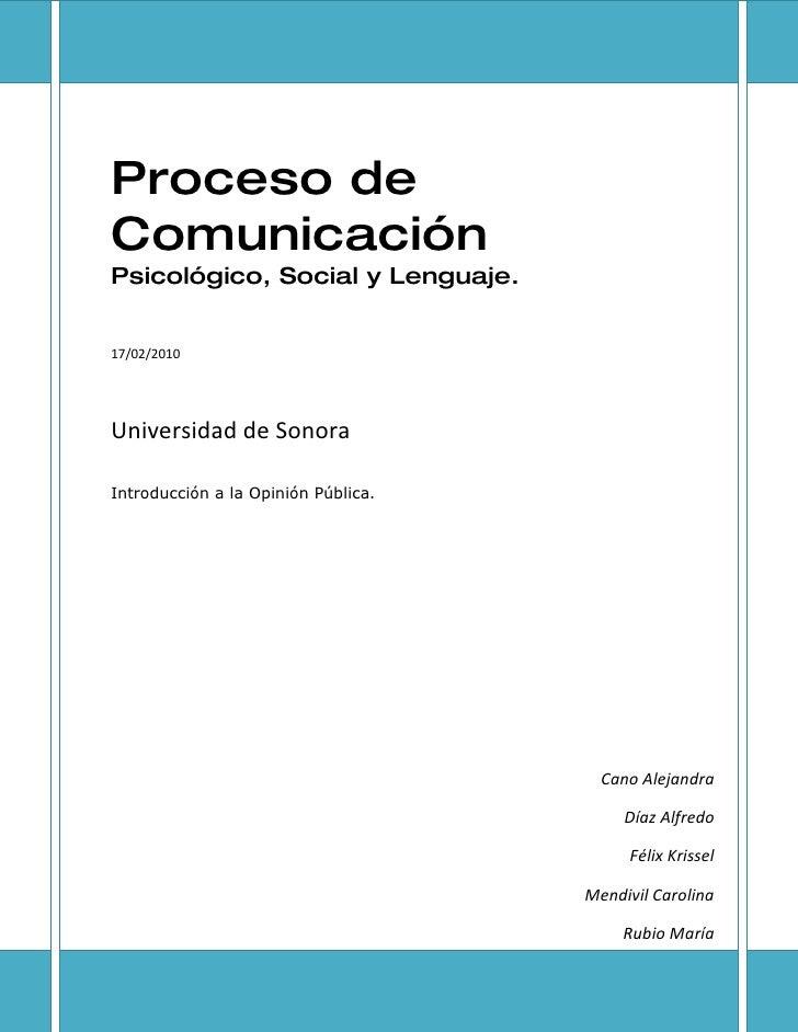 Proceso de Comunicación Psicológico, Social y Lenguaje.   17/02/2010     Universidad de Sonora  Introducción a la Opinión ...