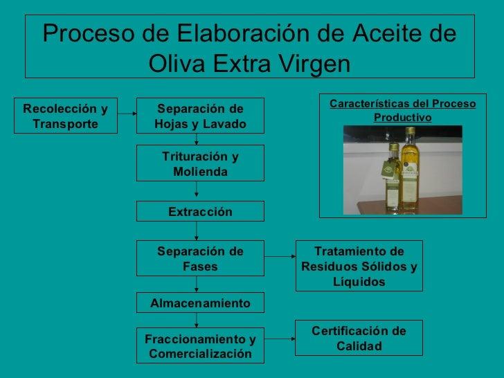 Características del Proceso Productivo Proceso de Elaboración de Aceite de Oliva Extra Virgen Separación de Hojas y Lavado...