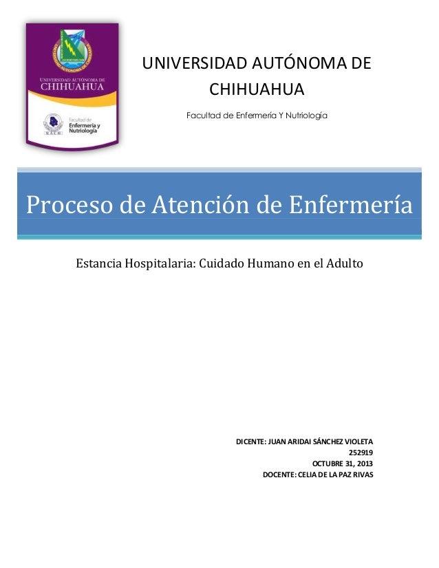 UNIVERSIDAD AUTÓNOMA DE CHIHUAHUA Facultad de Enfermería Y Nutriología  Proceso de Atención de Enfermería Estancia Hospita...