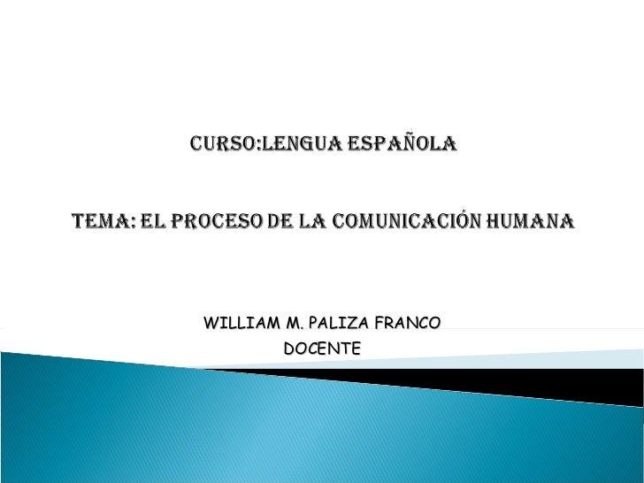 WILLIAM M. PALIZA FRANCO DOCENTE