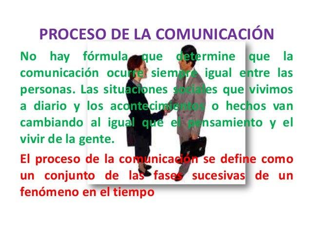 PROCESO DE LA COMUNICACIÓNNo hay fórmula que determine que lacomunicación ocurre siempre igual entre laspersonas. Las situ...