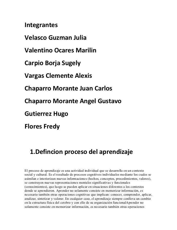 Integrantes Velasco Guzman Julia Valentino Ocares Marilin Carpio Borja Sugely Vargas Clemente Alexis Chaparro Morante Juan...