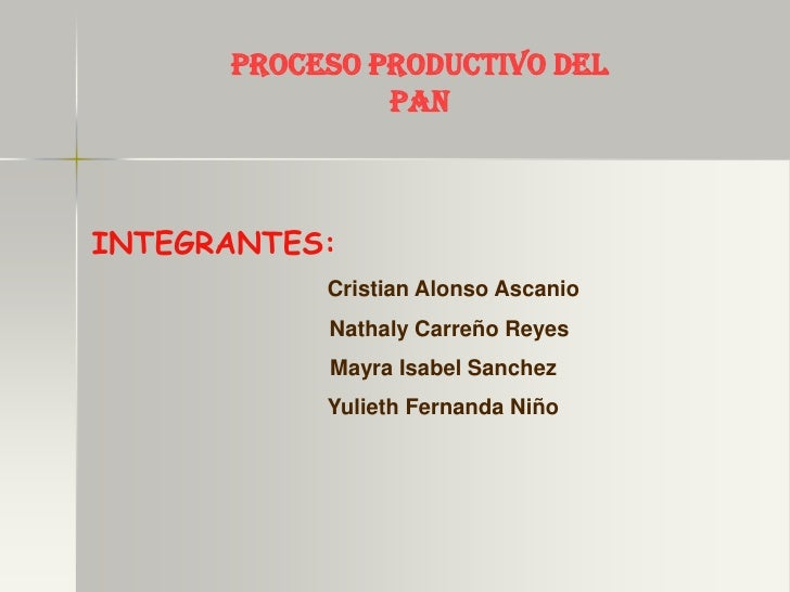 PROCESO PRODUCTIVO DEL                PAN    INTEGRANTES:            Cristian Alonso Ascanio            Nathaly Carreño Re...