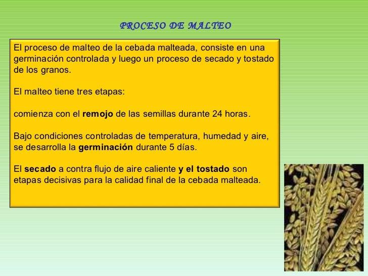 PROCESO DE MALTEO El proceso de malteo de la cebada malteada, consiste en una germinación controlada y luego un proceso de...