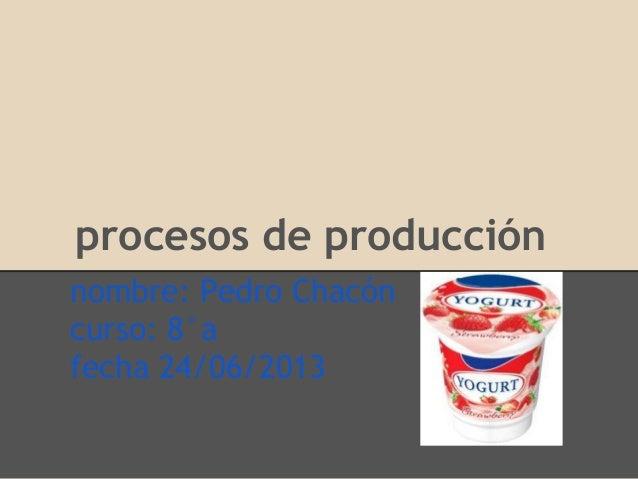 procesos de producción nombre: Pedro Chacón curso: 8°a fecha 24/06/2013