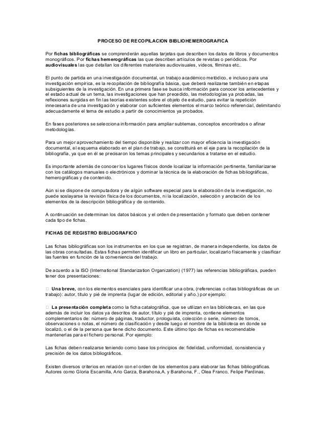 Proceso de recopilacion bibliohemerografica