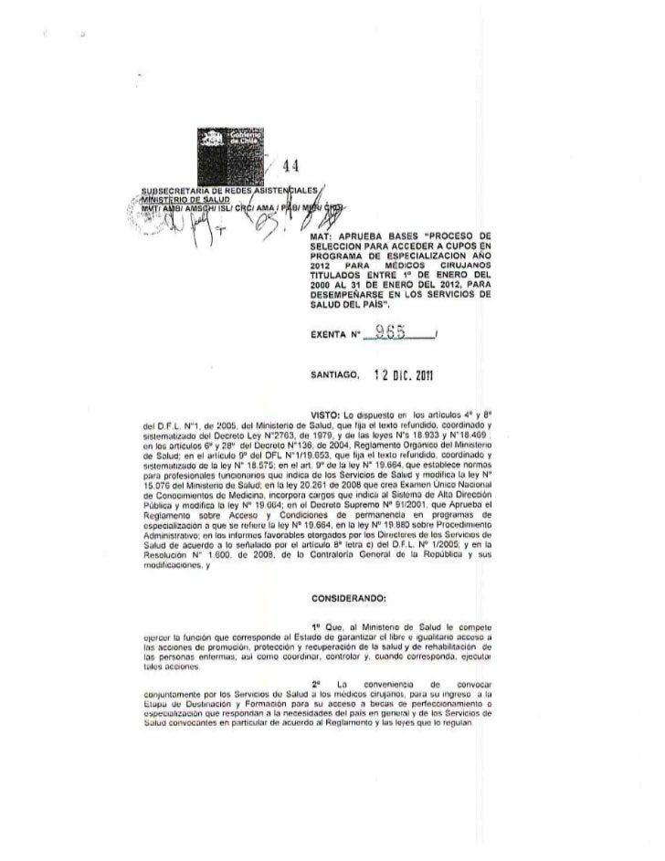 Proceso de selección cupos de especialidad 2012 (minsal)