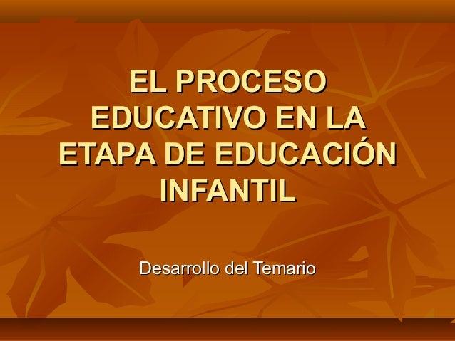 EL PROCESO  EDUCATIVO EN LAETAPA DE EDUCACIÓN      INFANTIL    Desarrollo del Temario