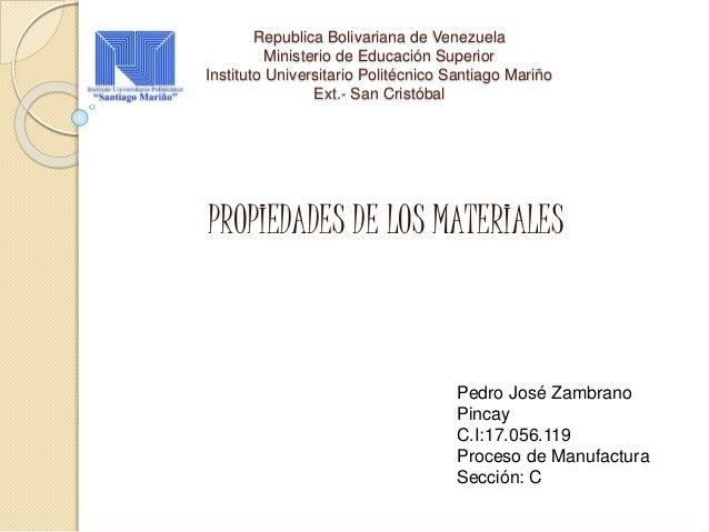Republica Bolivariana de Venezuela Ministerio de Educación Superior Instituto Universitario Politécnico Santiago Mariño Ex...