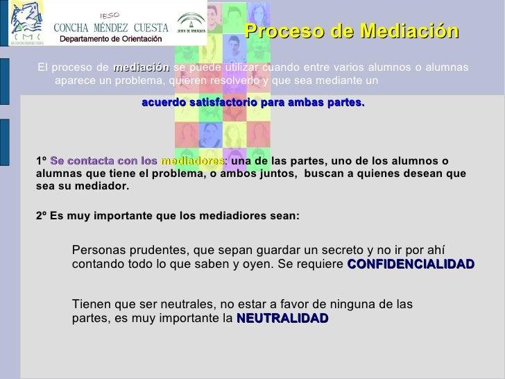 Proceso de Mediación <ul><li>El proceso de  mediación  se puede utilizar cuando entre varios alumnos o alumnas aparece un ...