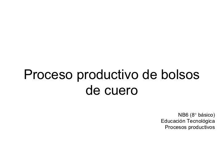 Proceso productivo de bolsos         de cuero                           NB6 (8° básico)                     Educación Tecn...