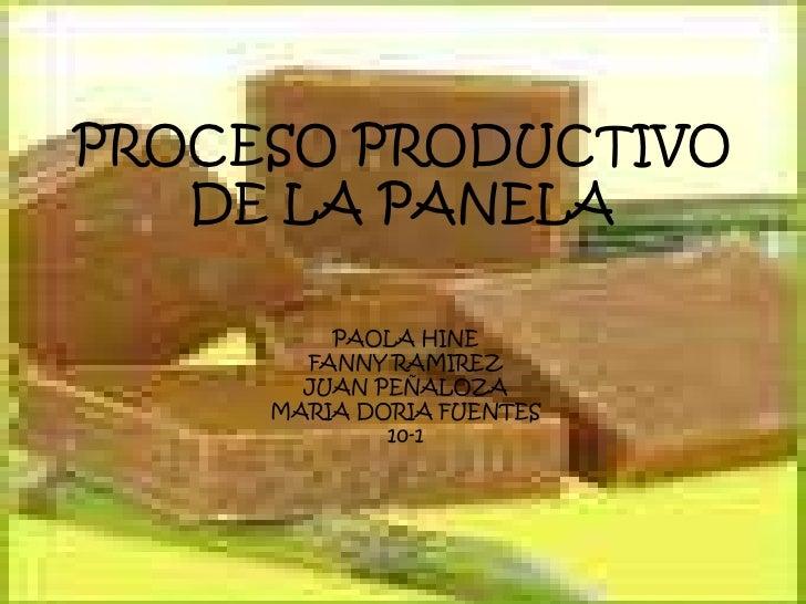 PROCESO PRODUCTIVO    DE LA PANELA           PAOLA HINE        FANNY RAMIREZ        JUAN PEÑALOZA      MARIA DORIA FUENTES...