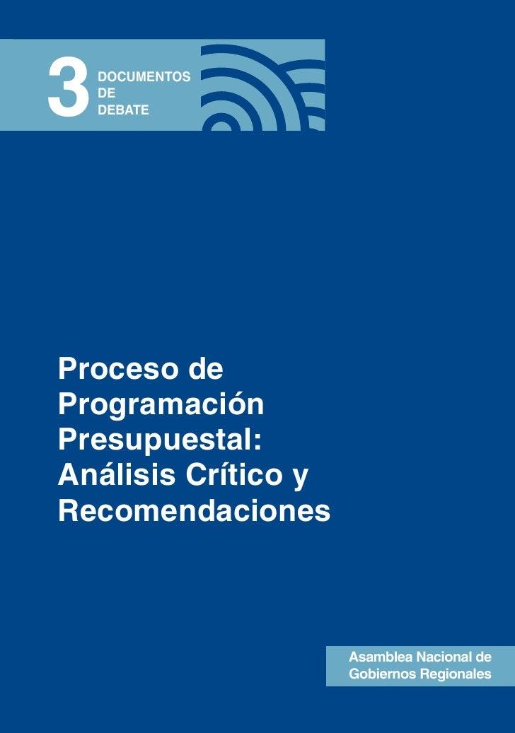 Proceso programacion presupuestal: Análisis Critico y Recomendaciones