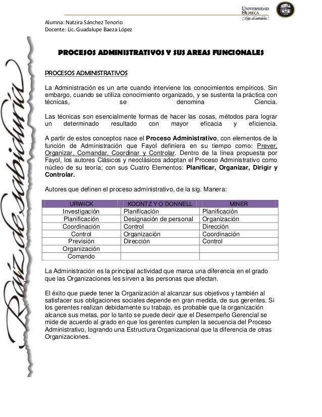 Alumna: Natzira Sánchez Tenorio Docente: Lic. Guadalupe Baeza López  PROCESOS ADMINISTRATIVOS Y SUS AREAS FUNCIONALES PROC...