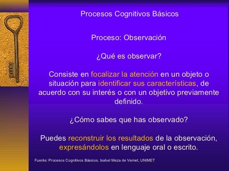 Procesos Cognitivos Básicos                               Proceso: Observación                                 ¿Qué es obs...