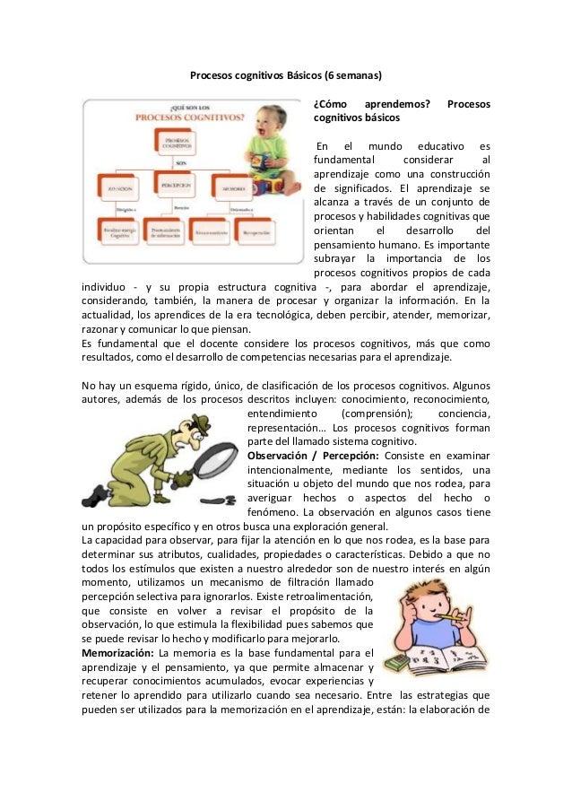 Procesos cognitivos Básicos (6 semanas) ¿Cómo aprendemos? cognitivos básicos  Procesos  En el mundo educativo es fundament...
