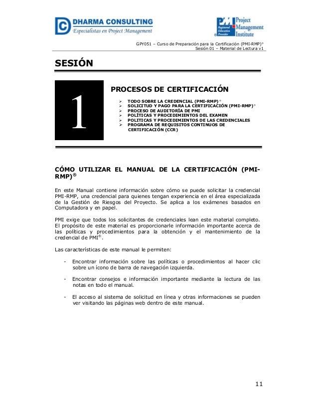 Procesos de Certificación (PMI- RMP)