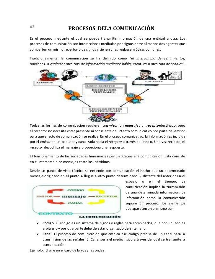 PROCESOS DELA COMUNICACIÓNEs el proceso mediante el cual se puede transmitir información de una entidad a otra. Losproceso...