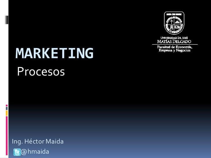 MARKETING ProcesosIng. Héctor Maida   @hmaida