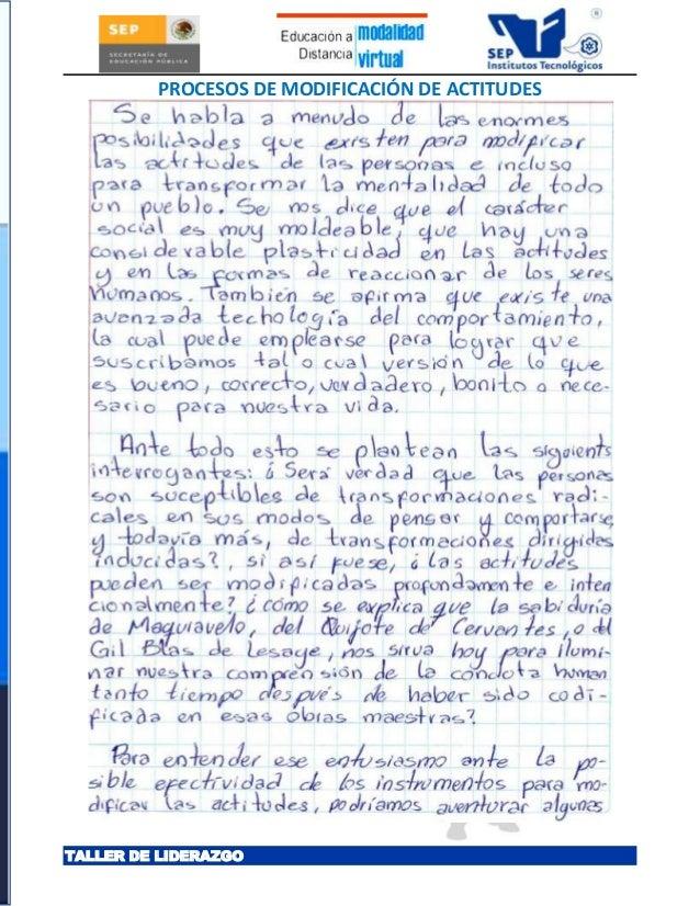 PROCESOS DE MODIFICACIÓN DE ACTITUDESTALLER DE LIDERAZGO