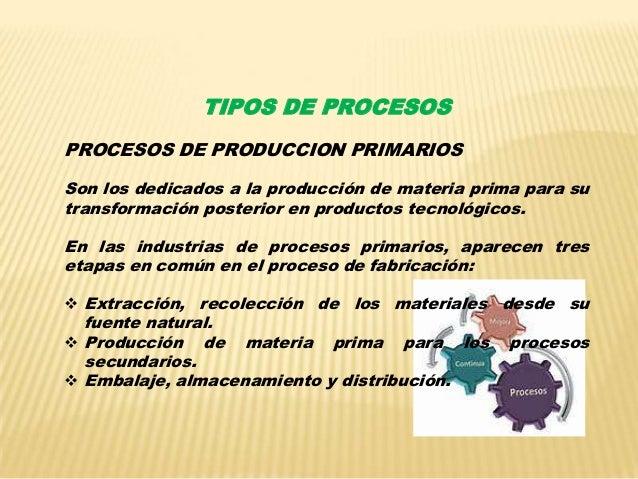 Procesos de produccion for Descripcion del proceso de produccion