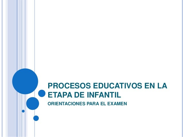 PROCESOS EDUCATIVOS EN LAETAPA DE INFANTILORIENTACIONES PARA EL EXAMEN
