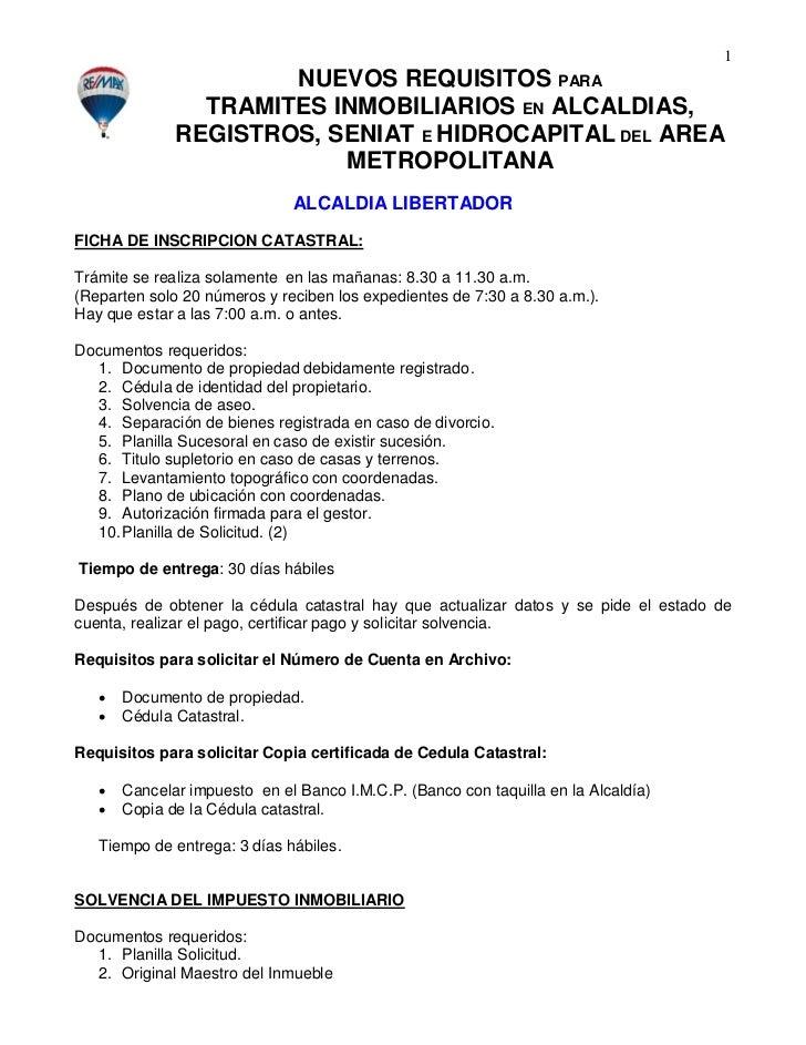 1                       NUEVOS REQUISITOS PARA                 TRAMITES INMOBILIARIOS EN ALCALDIAS,               REGISTRO...