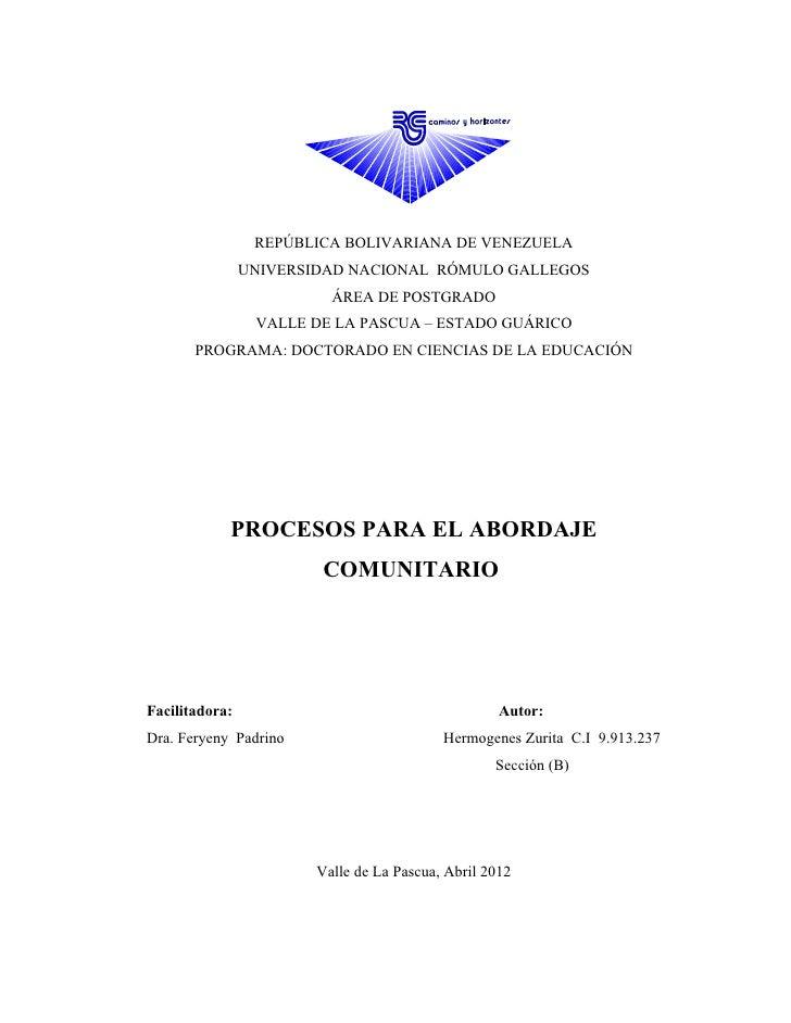 REPÚBLICA BOLIVARIANA DE VENEZUELA                UNIVERSIDAD NACIONAL RÓMULO GALLEGOS                          ÁREA DE PO...