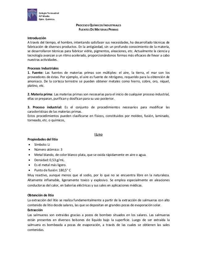 Colegio Terraustral        IVº Medio        Dpto. Química.                                  PROCESOS QUÍMICOS INDUSTRIALES...