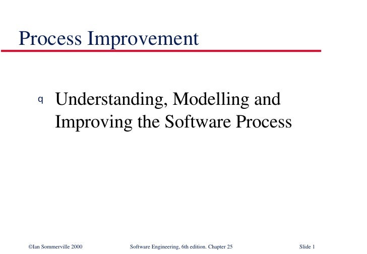 Process Improvement  <ul><li>Understanding, Modelling and Improving the Software Process </li></ul>