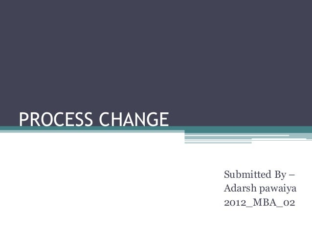 PROCESS CHANGE Submitted By – Adarsh pawaiya 2012_MBA_02