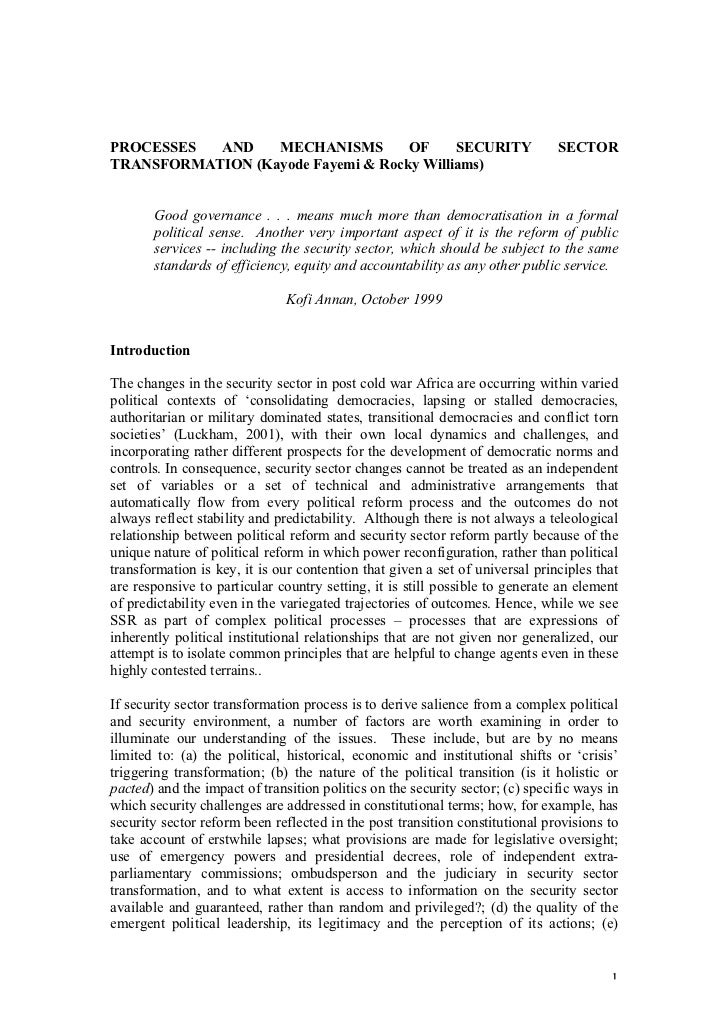Processes and mechanisms of security sector transformation