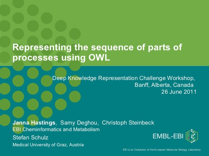 Representing the sequence of parts of processes using OWL Janna Hastings ,  Samy Deghou,  Christoph Steinbeck EBI Cheminfo...