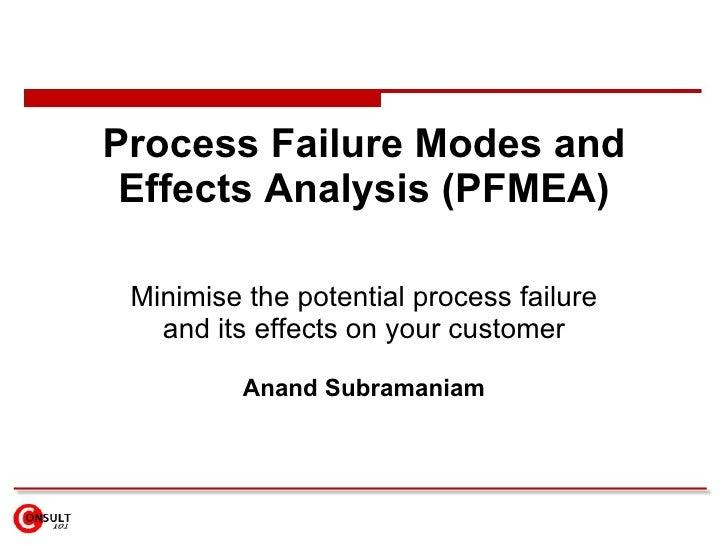 Process Failure Modes & Effects Analysis (PFMEA)