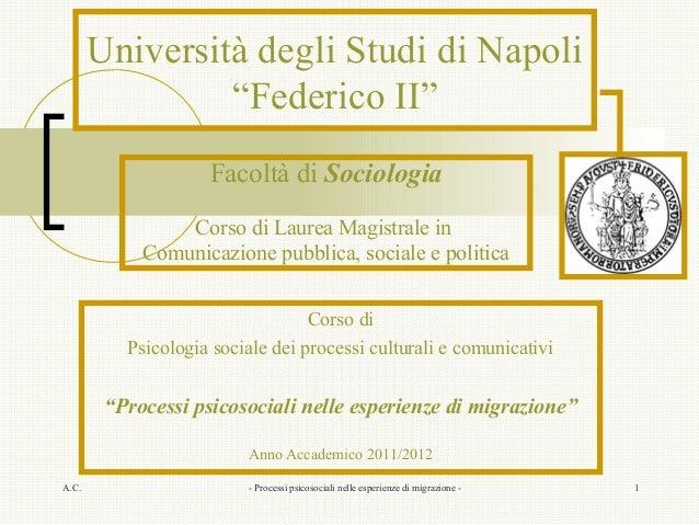 """Università degli Studi di Napoli                """"Federico II""""                    Facoltà di Sociologia                Cors..."""