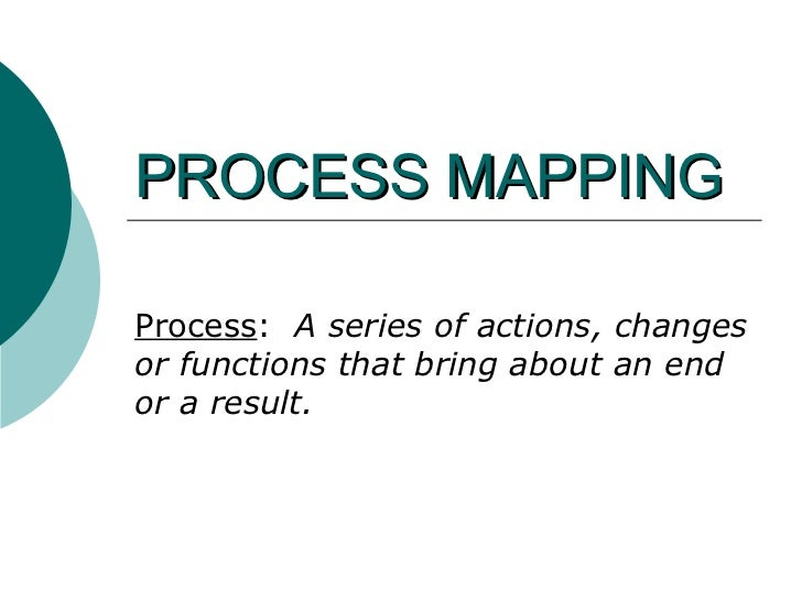 PROCESS MAPPING Process :  A series of actions, changes or functions that bring about an end or a result.