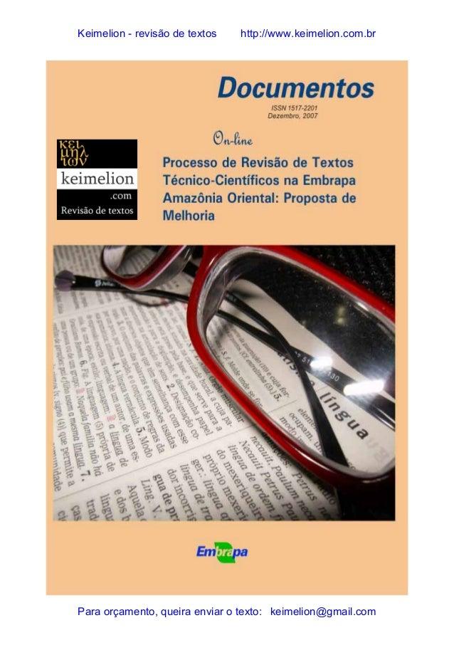 Processo de revisão de textos Técnico-Científicos na Embrapa Amazônia Oriental