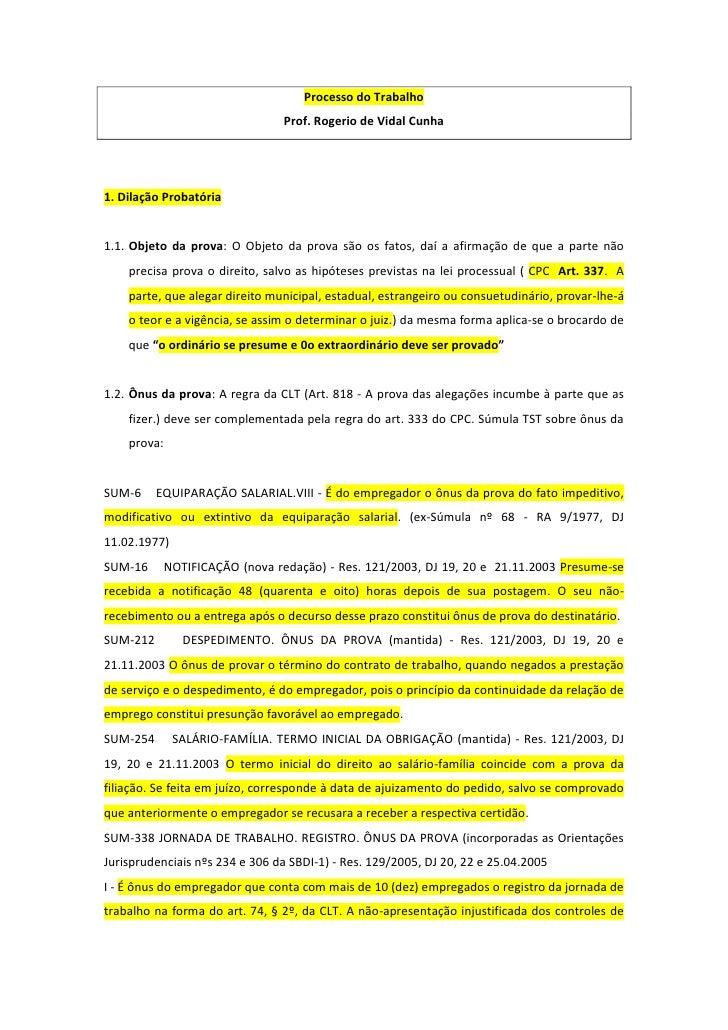 Processo do Trabalho                                Prof. Rogerio de Vidal Cunha1. Dilação Probatória1.1. Objeto da prova:...