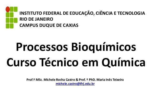 Processos Bioquímicos Curso Técnico em Química INSTITUTO FEDERAL DE EDUCAÇÃO, CIÊNCIA E TECNOLOGIA RIO DE JANEIRO CAMPUS D...