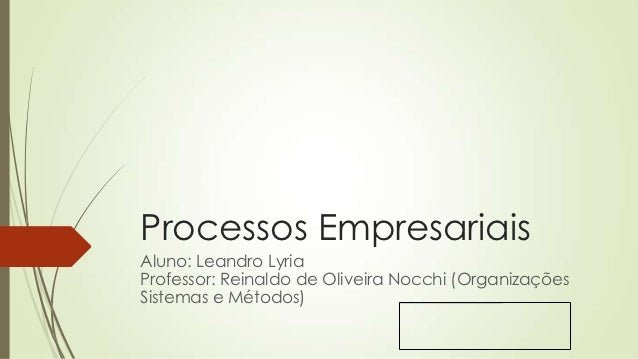 Processos EmpresariaisAluno: Leandro LyriaProfessor: Reinaldo de Oliveira Nocchi (OrganizaçõesSistemas e Métodos)