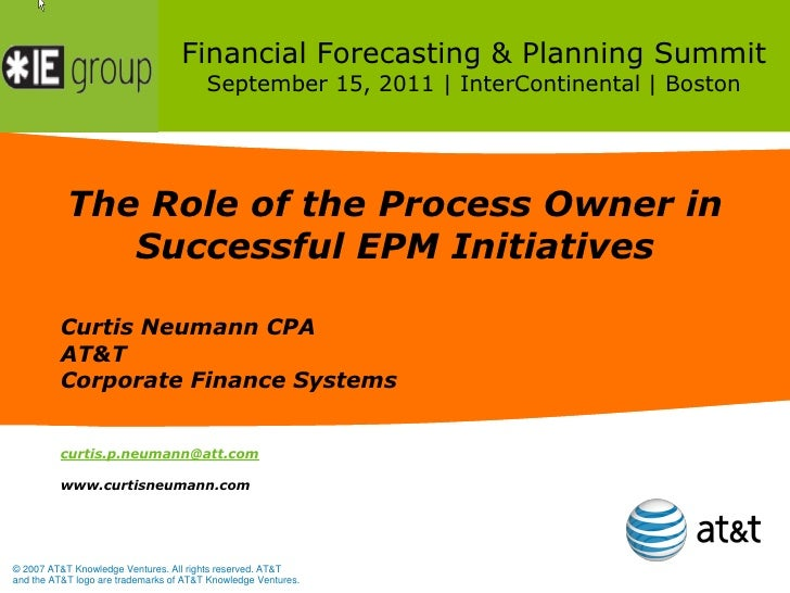 Financial Forecasting & Planning Summit                                        September 15, 2011 | InterContinental | Bos...