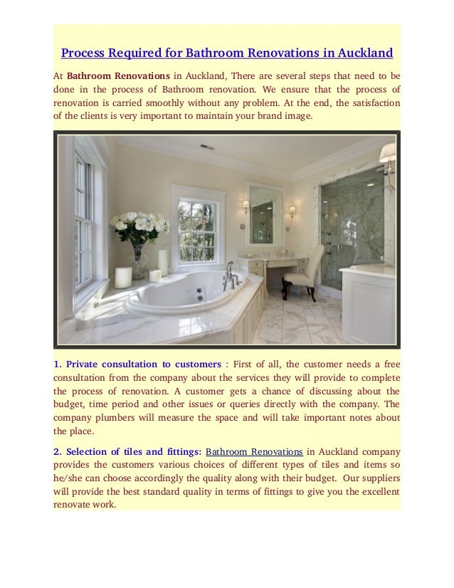 Process Required For Bathroom Renovations In Auckland